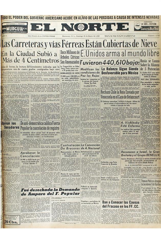 Periódico en el que se informa de la nevada del 30 enero 1949