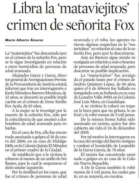 senorita fox asesinatos